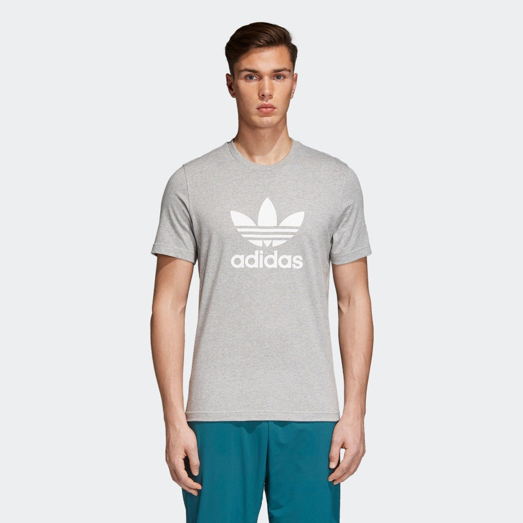 Men's adidas Trefoil Tee Medium Grey Heather CY4574 | Chicago City Sports | front view on model