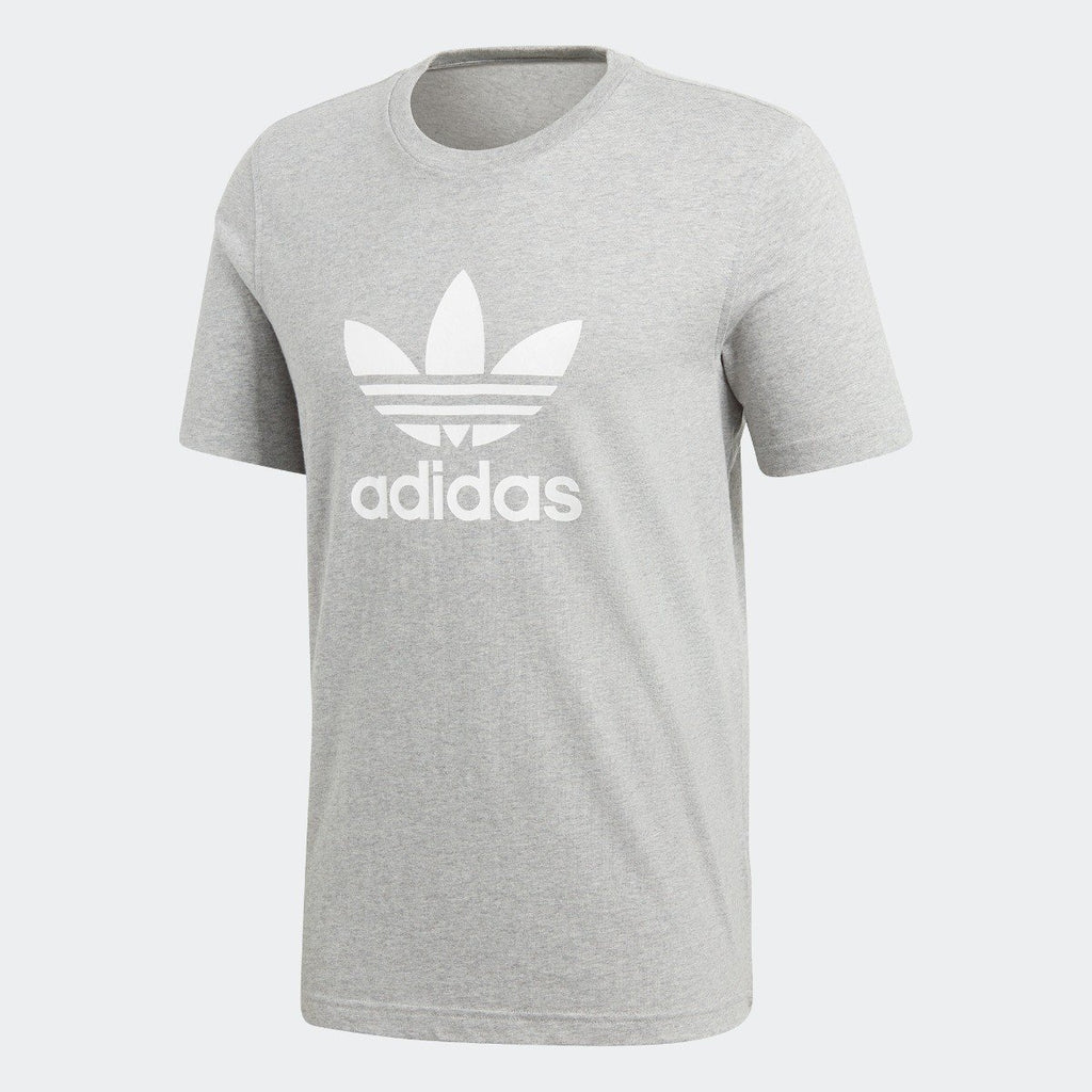 Men's adidas Trefoil Tee Medium Grey Heather CY4574 | Chicago City Sports | front view
