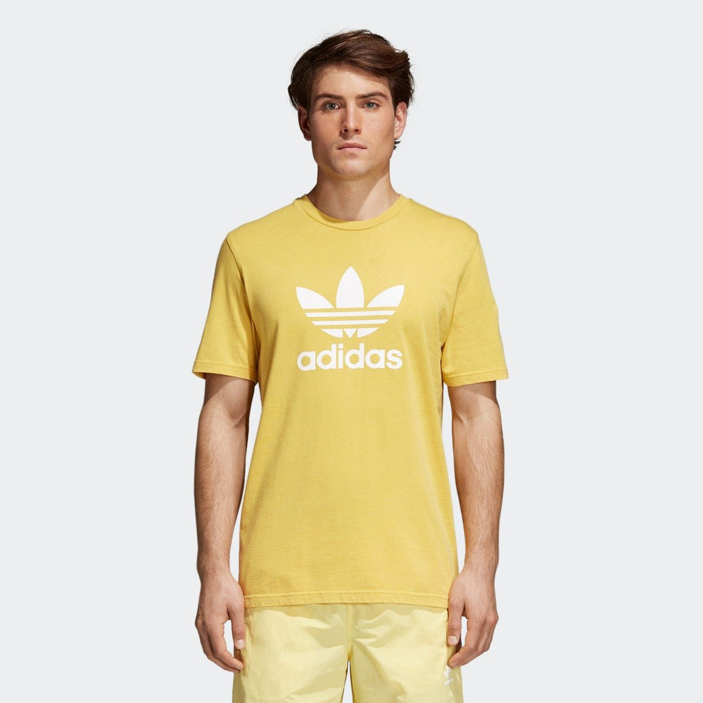 Men's adidas Originals Trefoil Tee Tribe Yellow with White
