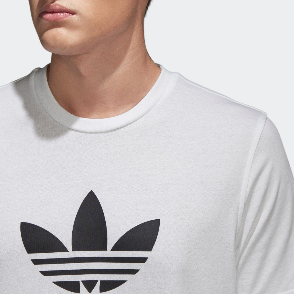 Men's adidas Trefoil Tee White with Black CW0710 | Chicago City Sports | chest view