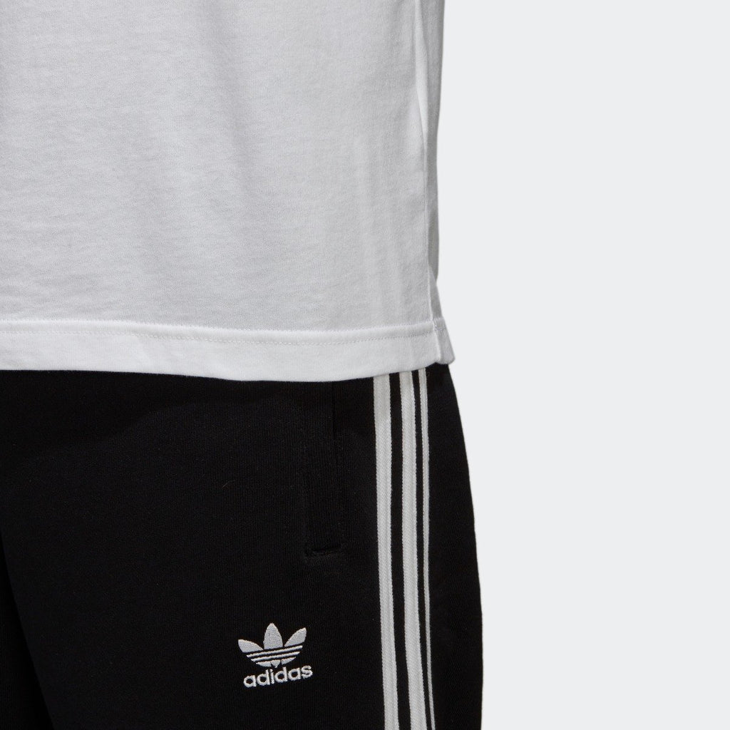 Men's adidas Trefoil Tee White with Black CW0710 | Chicago City Sports | hem view