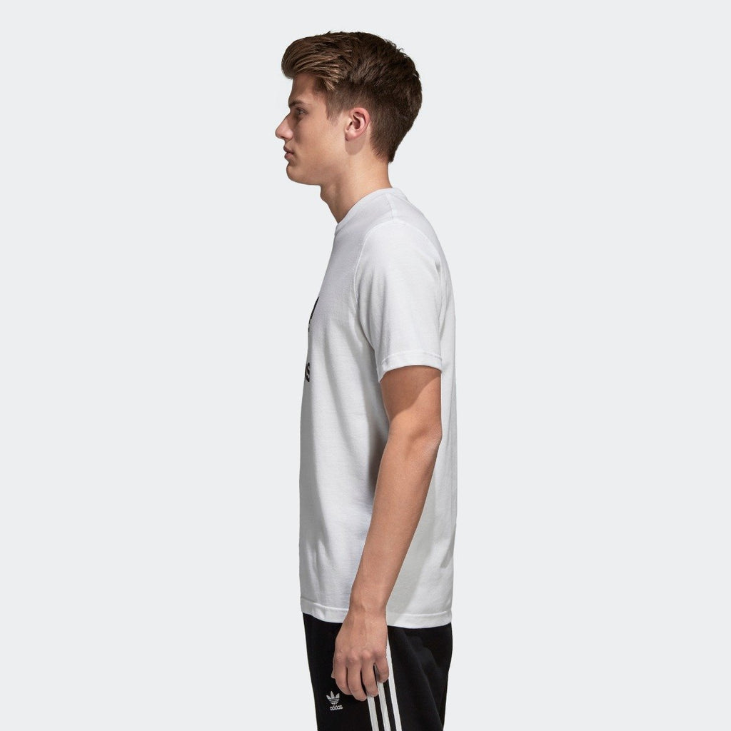 Men's adidas Trefoil Tee White with Black CW0710 | Chicago City Sports | side view