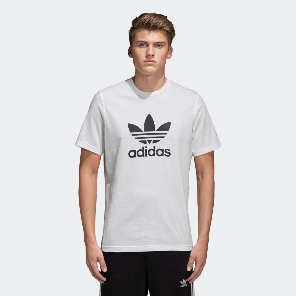 Men's adidas Trefoil Tee White with Black CW0710 | Chicago City Sports | front view on model