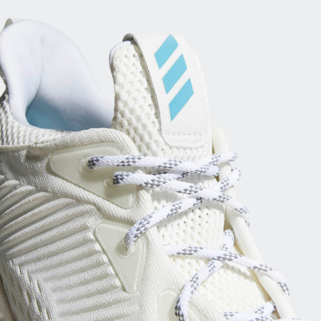 Men's Adidas Running Alphabounce 1 Parley Shoes White CQ0784 | Chicago City Sports | tongue view