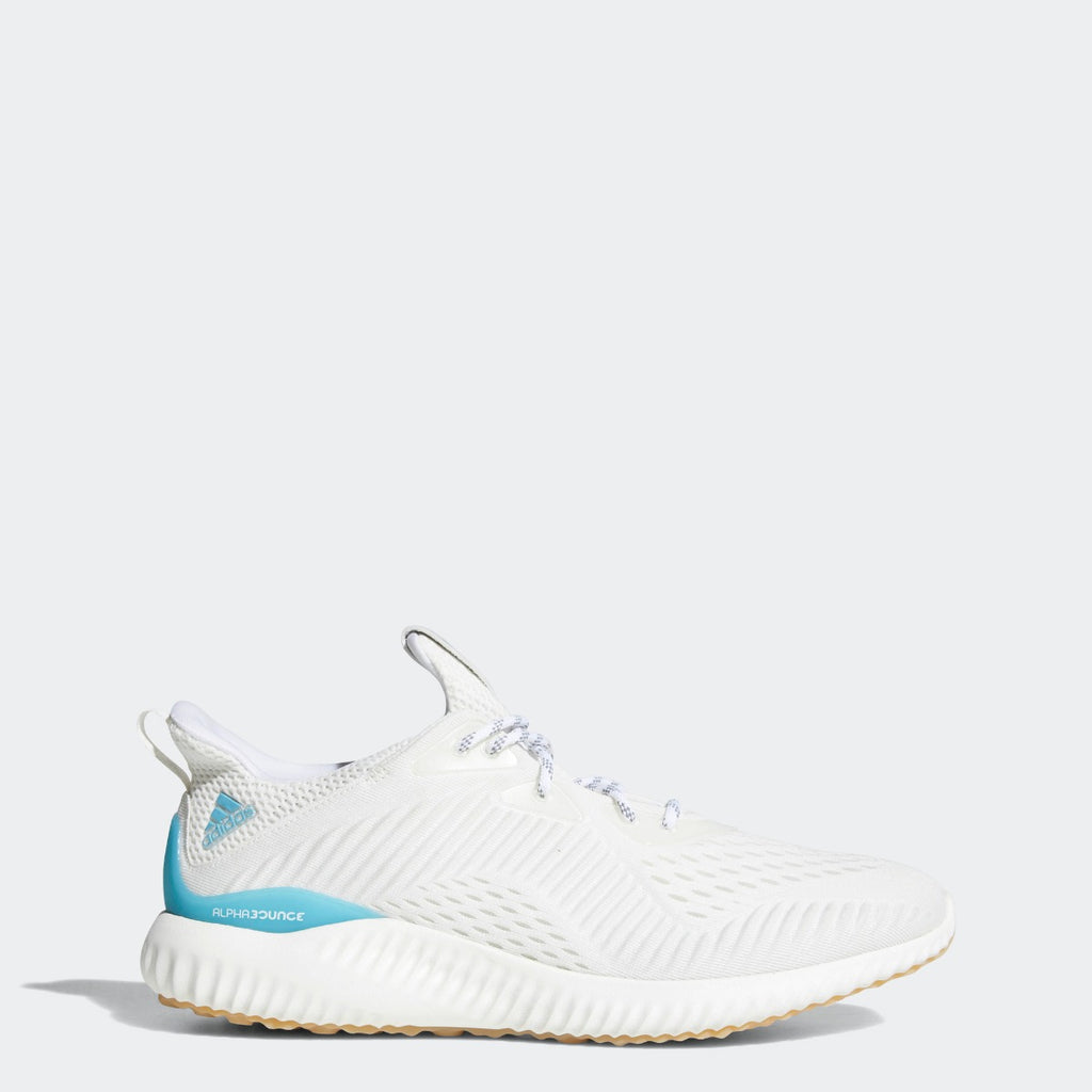 Men's Adidas Running Alphabounce 1 Parley Shoes White CQ0784 | Chicago City Sports | side view