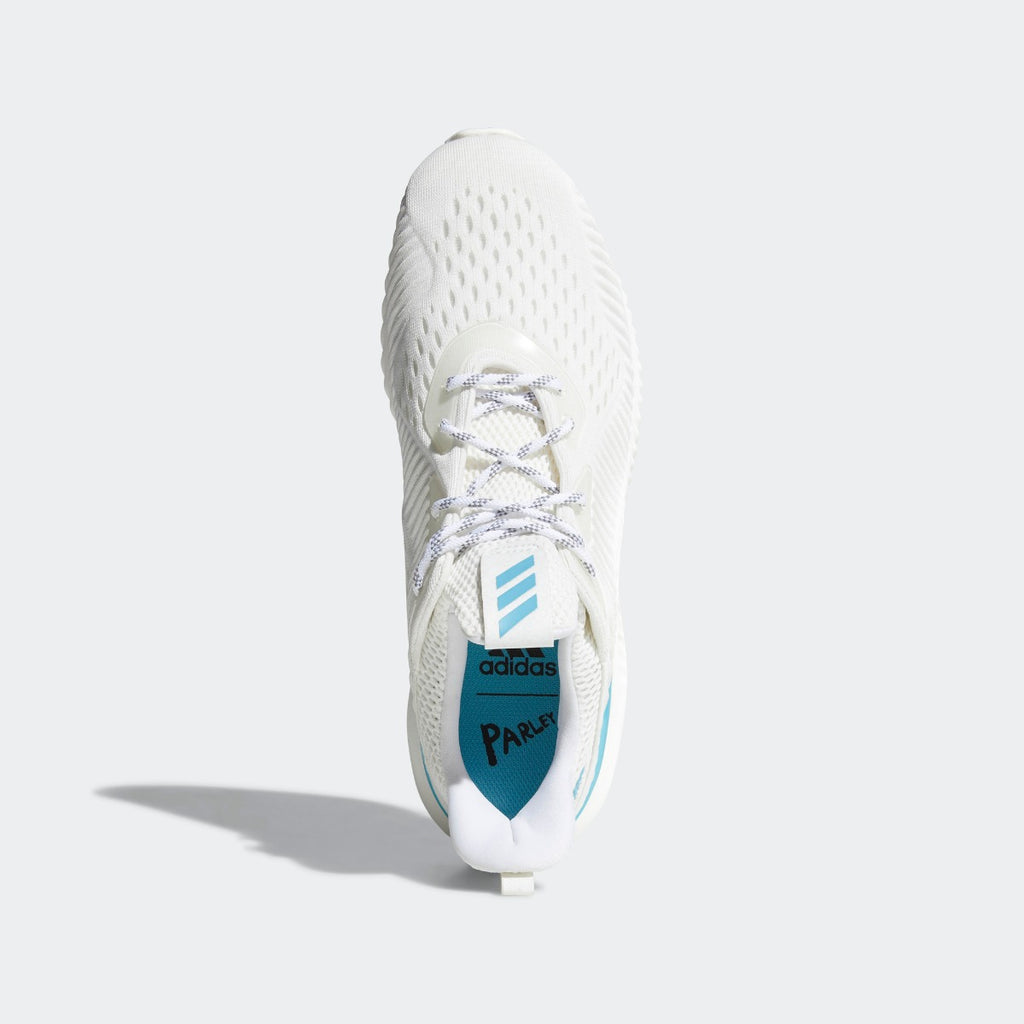 Men's Adidas Running Alphabounce 1 Parley Shoes White CQ0784 | Chicago City Sports | top view