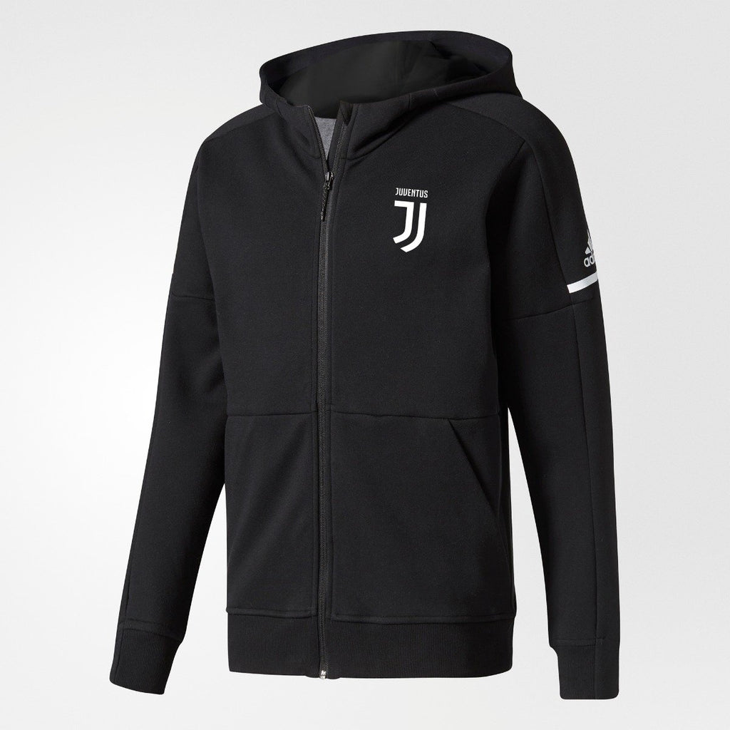 Men's adidas Soccer Juventus Anthem ZNE Hoodie Black BP8219 | Chicago City Sports | front view