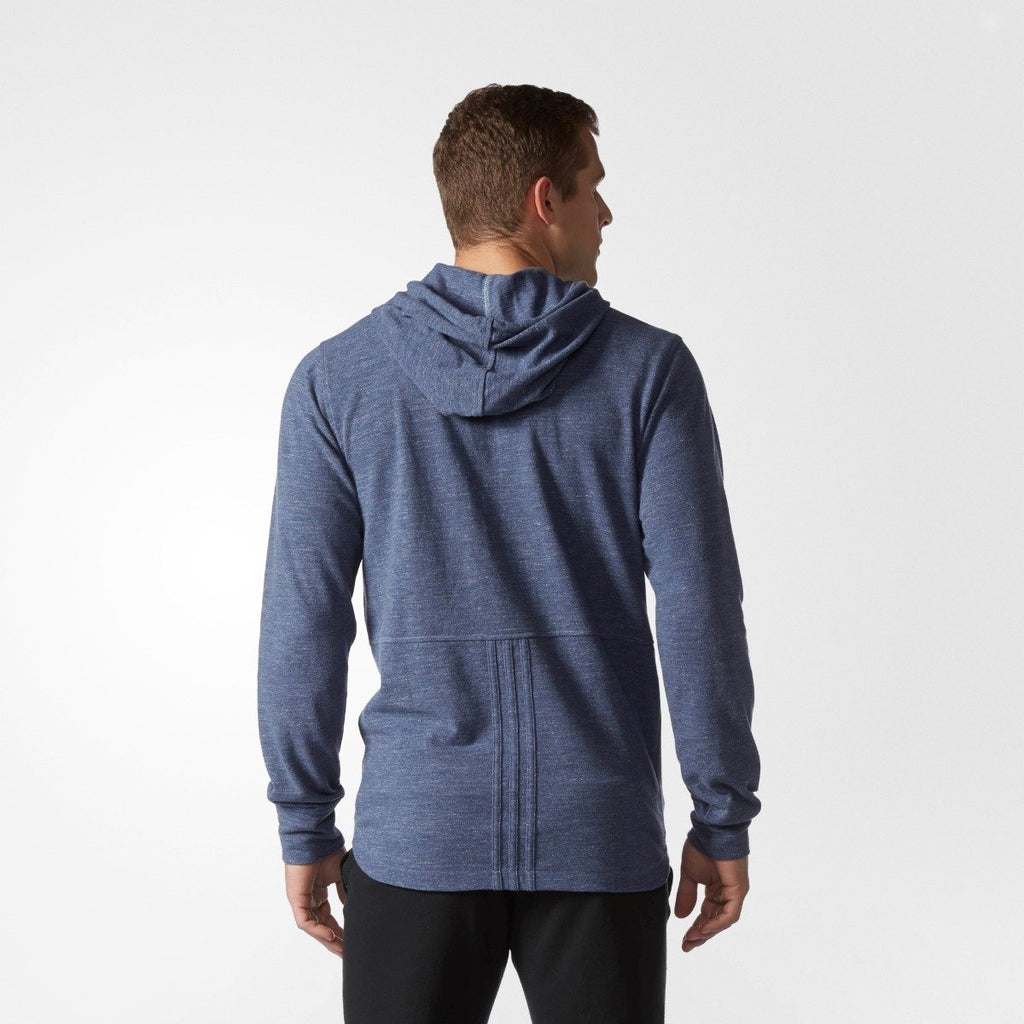 Men's Adidas Training Essentials Heathered Piqué Hoodie Mystery Blue