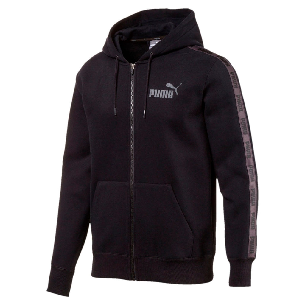 Men's PUMA Rebel Tape Full Zip Hoodie Black 85081601 | Chicago City Sports | front view