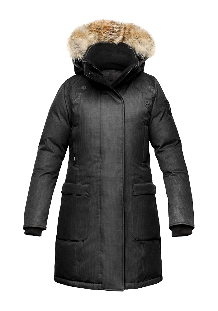 Women's Nobis The Merideth Winter Jacket Crosshatch Black MERIDETHBLK | Chicago City Sports | front view
