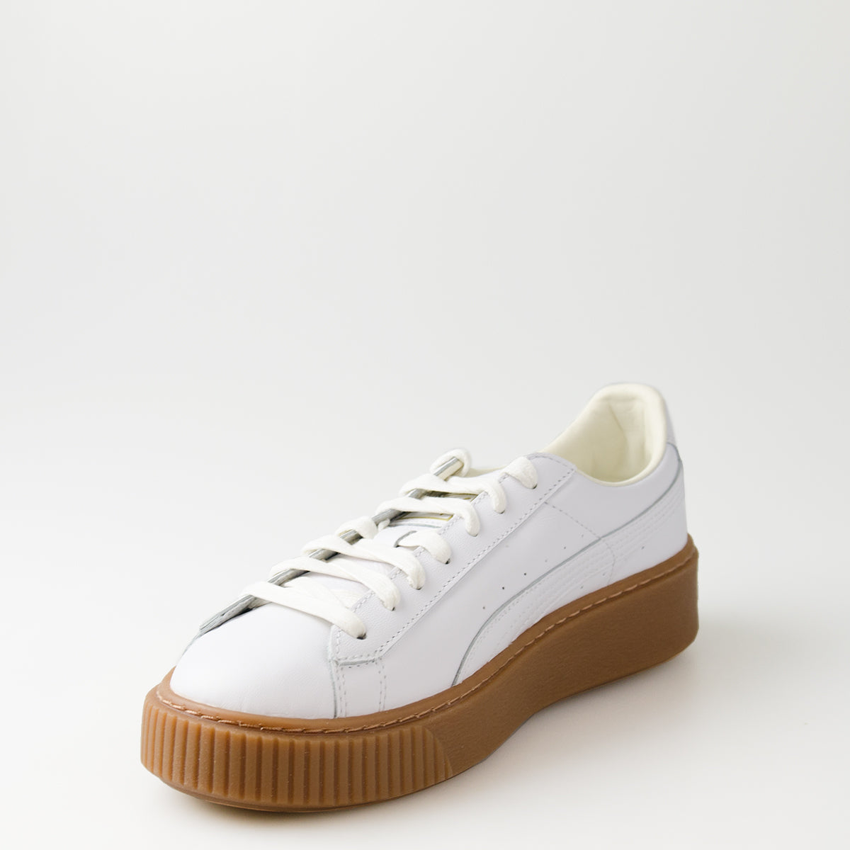 Women's Puma Basket Platform Core Sneakers White Gum
