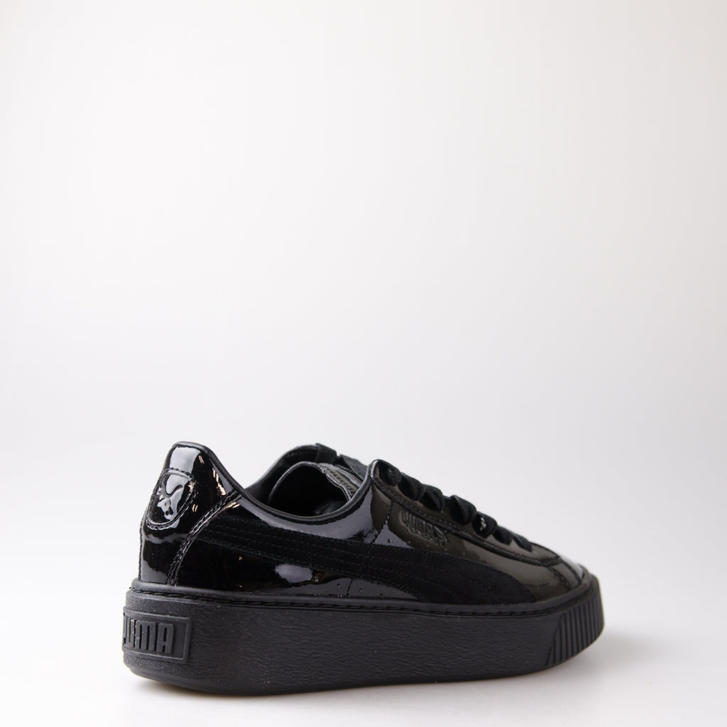 Women's Puma Basket Platform Patent Sneakers Black