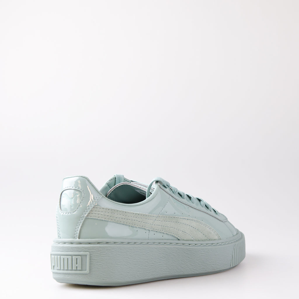 Women's Puma Basket Platform Patent Sneakers Blue Surf