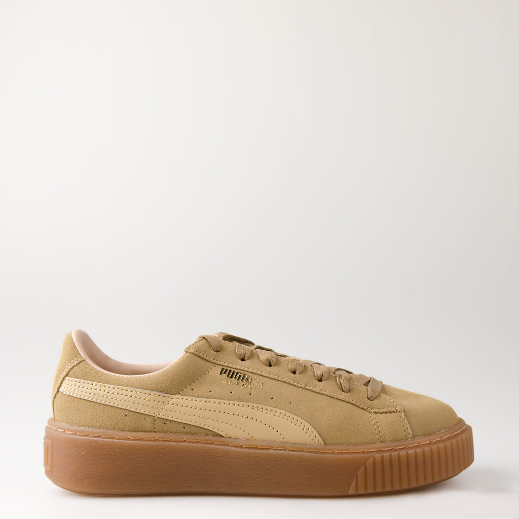 Women's PUMA Suede Platform Core Sneakers Oatmeal Whisper White