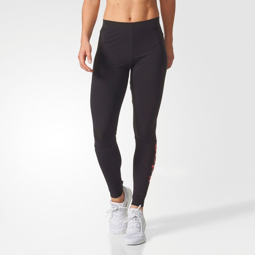 Women's adidas Essentials Linear Leggings Black with Red