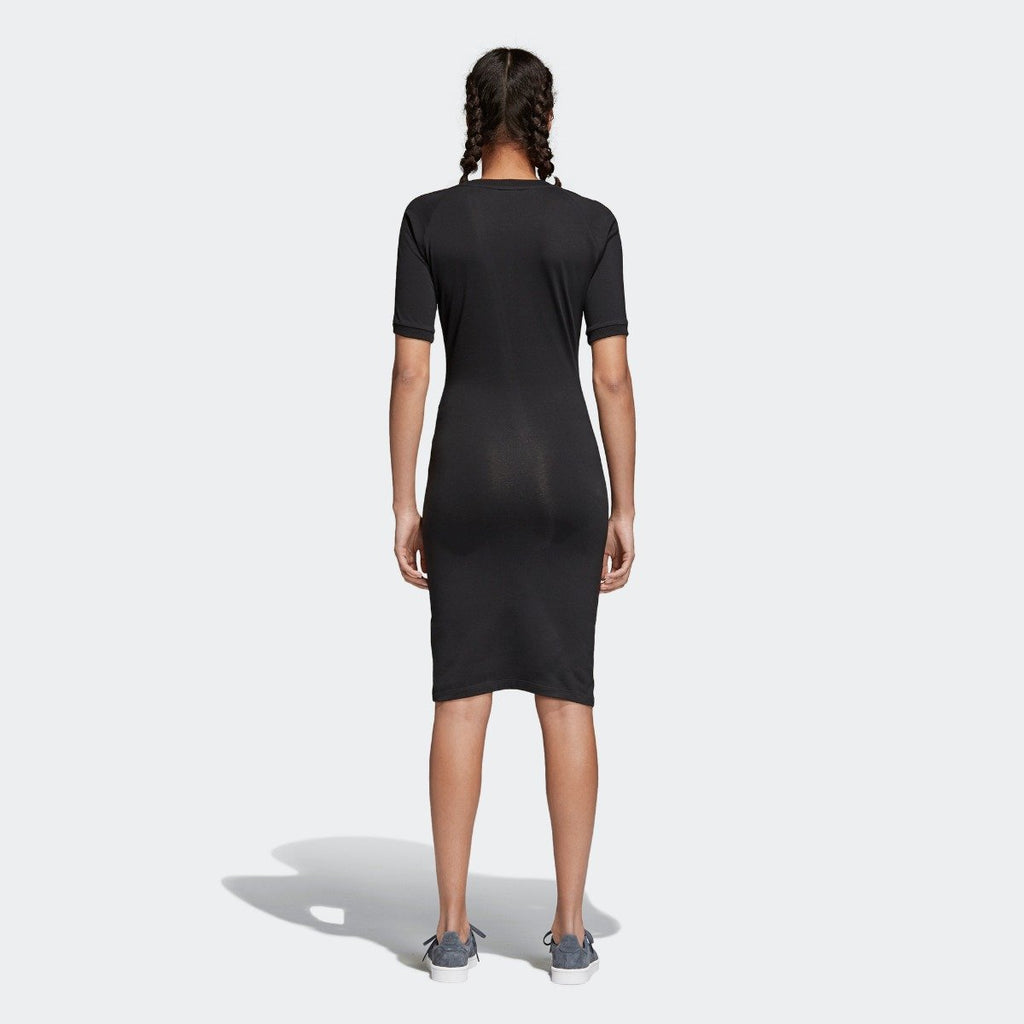Women's adidas 3-Stripes Dress Black CY4748 | Chicago City Sports | rear view on model