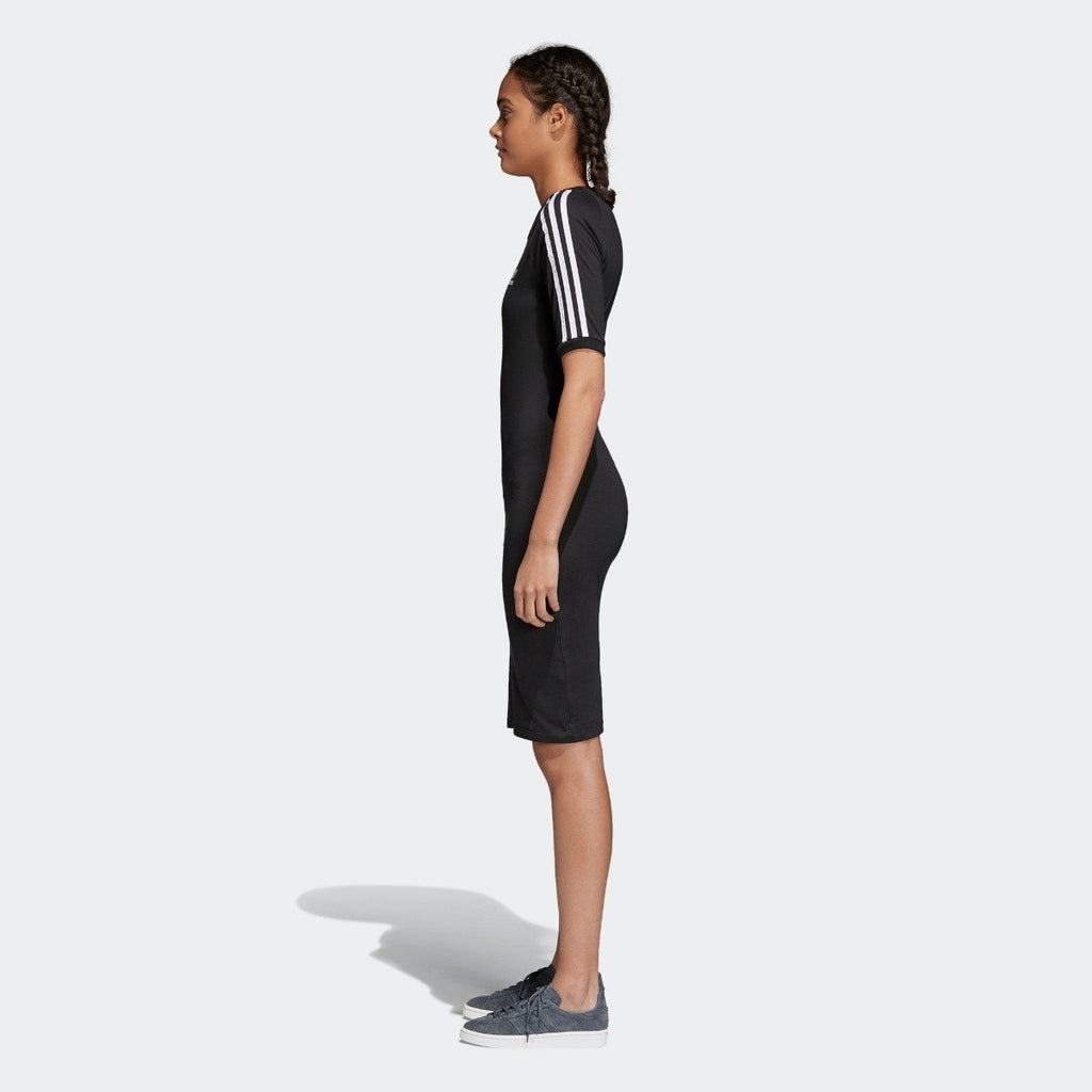 Women's adidas 3-Stripes Dress Black CY4748 | Chicago City Sports | side view on model