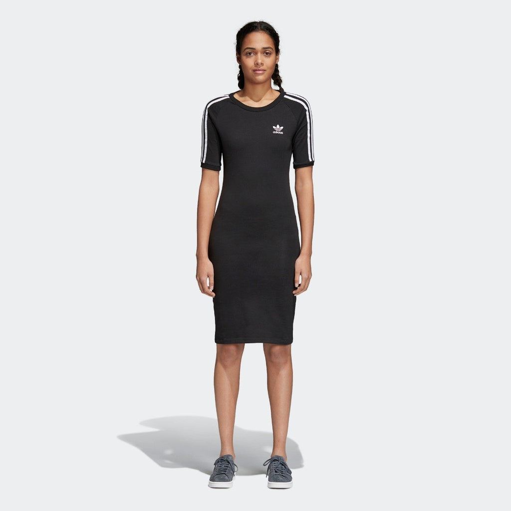 Women's adidas 3-Stripes Dress Black CY4748 | Chicago City Sports | front view on model