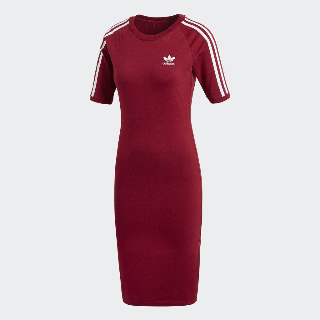 Women's adidas Originals 3-Stripes Dress Burgundy Red