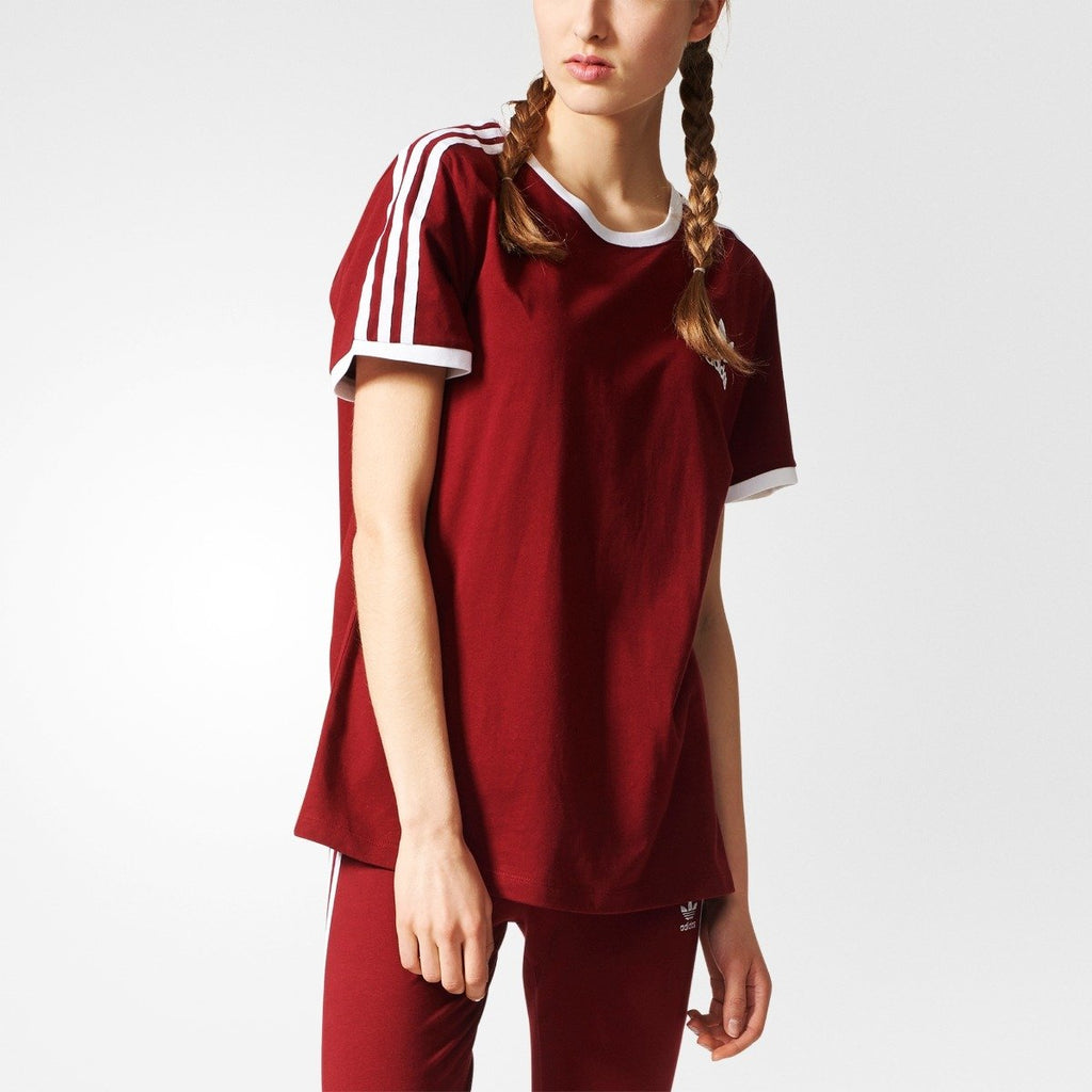 Women's adidas Originals 3-Stripes Tee Collegiate Burgundy