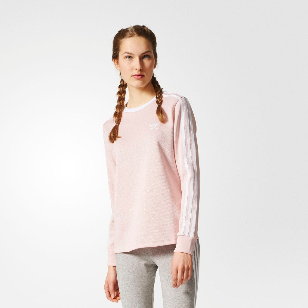 Women's adidas Originals 3-Stripes Tee Icey Pink BP9432 | Chicago City Sports | front view on model