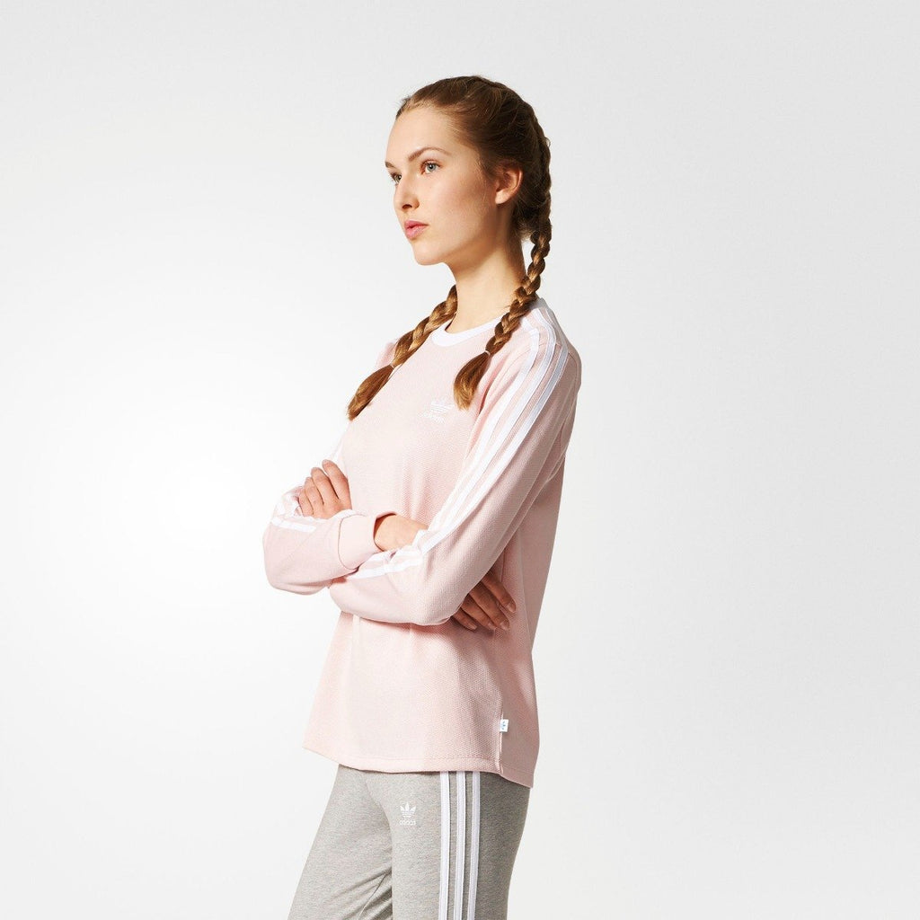 Women's adidas Originals 3-Stripes Tee Icey Pink BP9432 | Chicago City Sports | side view on model