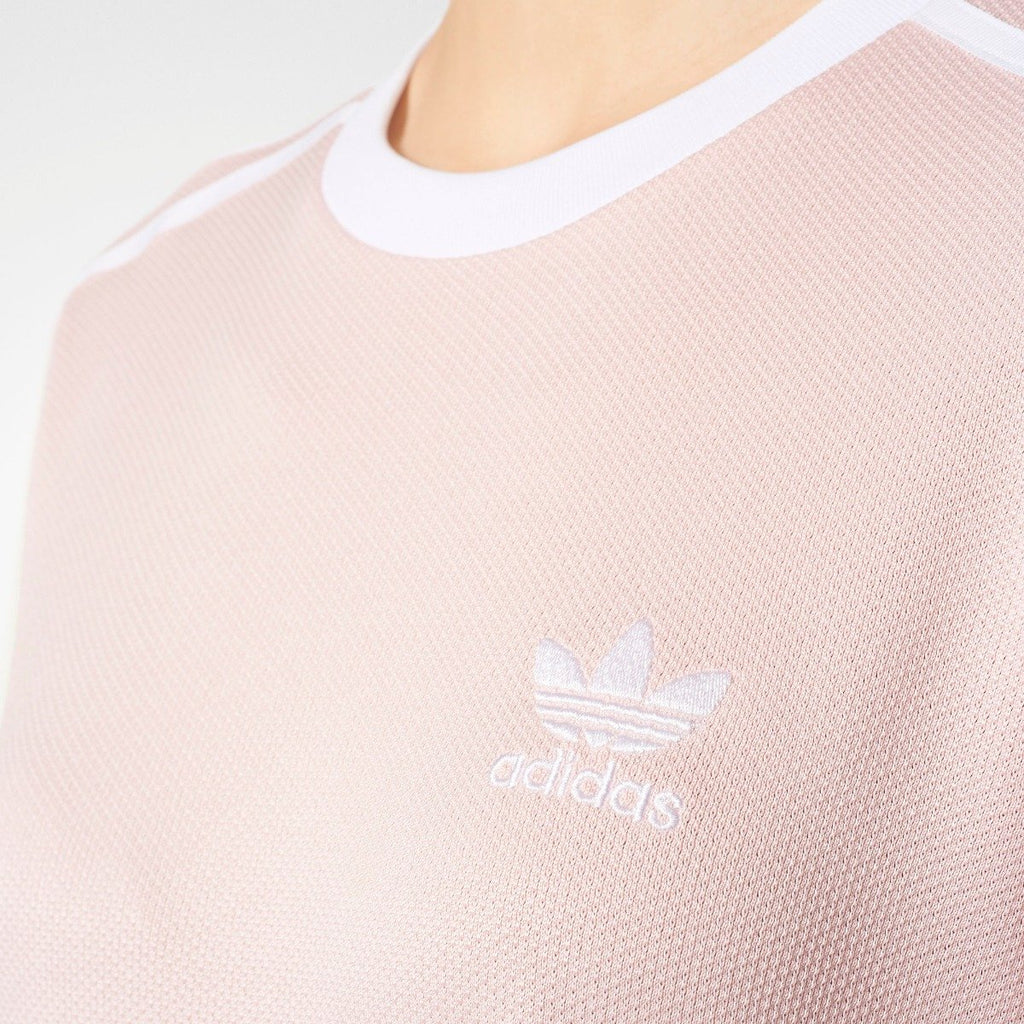 Women's adidas Originals 3-Stripes Tee Icey Pink BP9432 | Chicago City Sports | close-up view of adidas logo