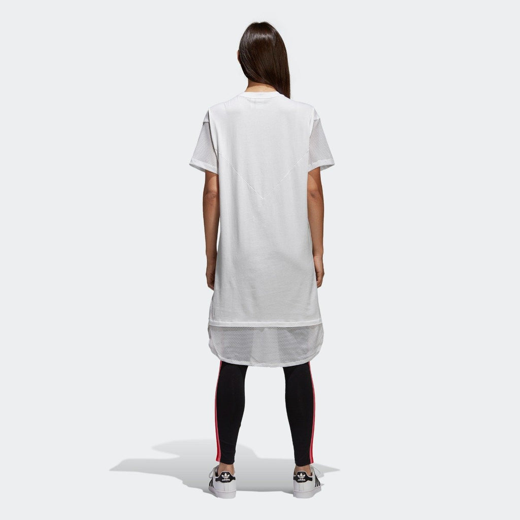 Women's adidas Originals CLRDO Tee Dress White CE4133 | Chicago City Sports | rear view on model
