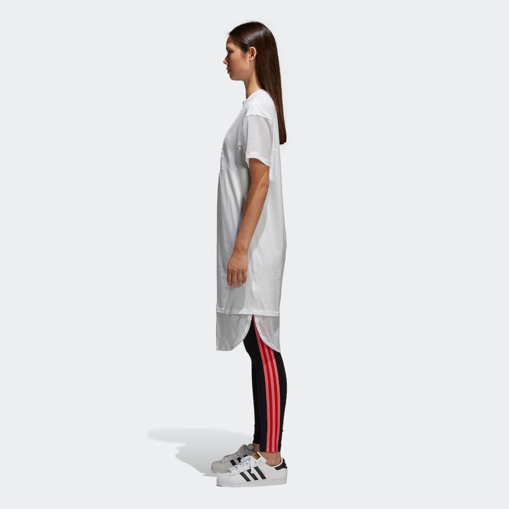 Women's adidas Originals CLRDO Tee Dress White CE4133 | Chicago City Sports | side view on model