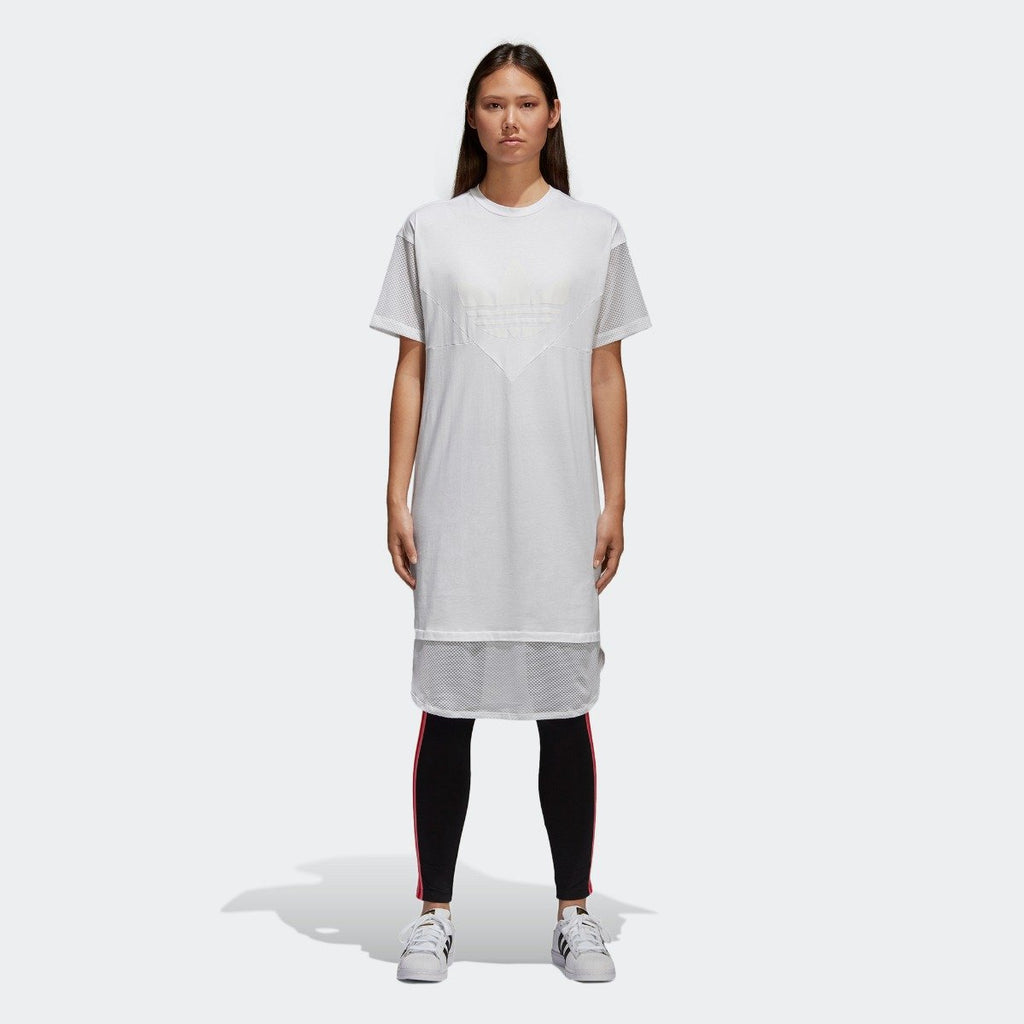 Women's adidas Originals CLRDO Tee Dress White CE4133 | Chicago City Sports | front view on model