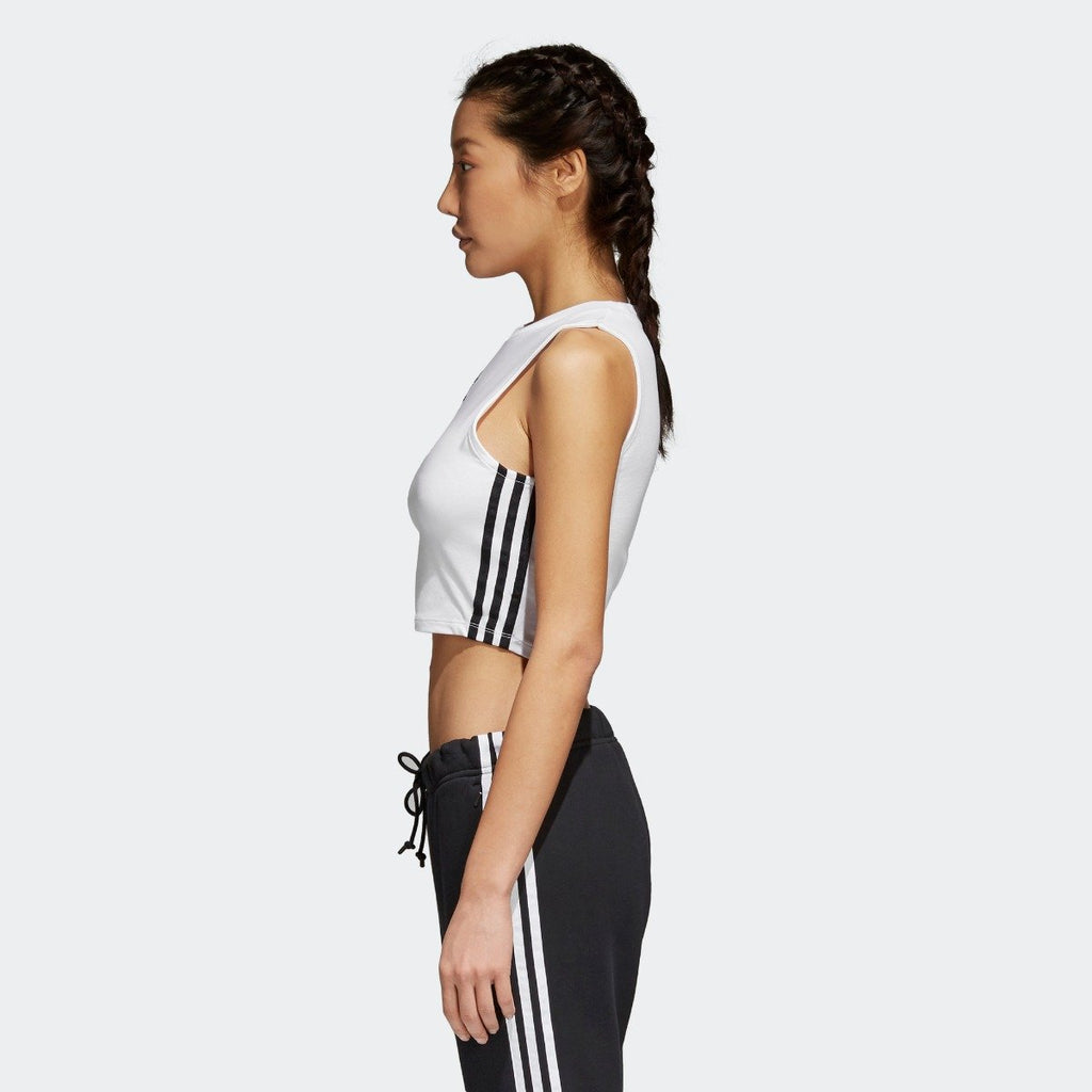 Women's adidas Originals Crop Tank White with Black