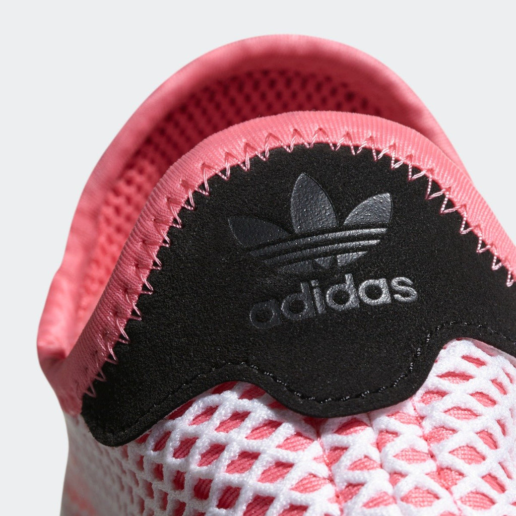 Women's adidas Originals Deerupt Runner Shoes Chalk Pink with Bold Orange CQ2910 | Chicago City Sports | heel tab view