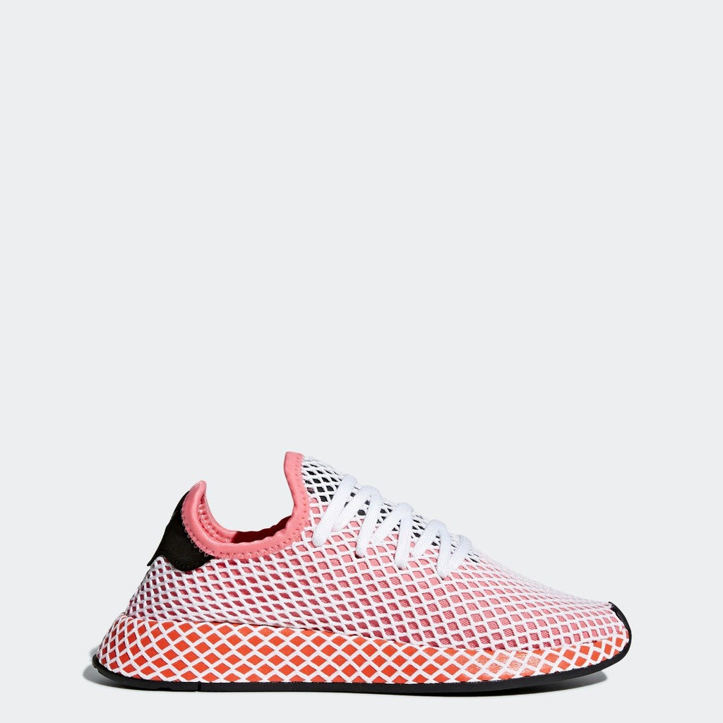 Women's adidas Originals Deerupt Runner Shoes Chalk Pink with Bold Orange