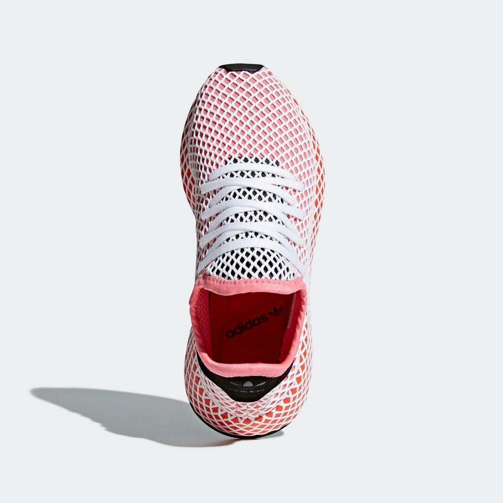 Women's adidas Originals Deerupt Runner Shoes Chalk Pink with Bold Orange CQ2910 | Chicago City Sports | top view