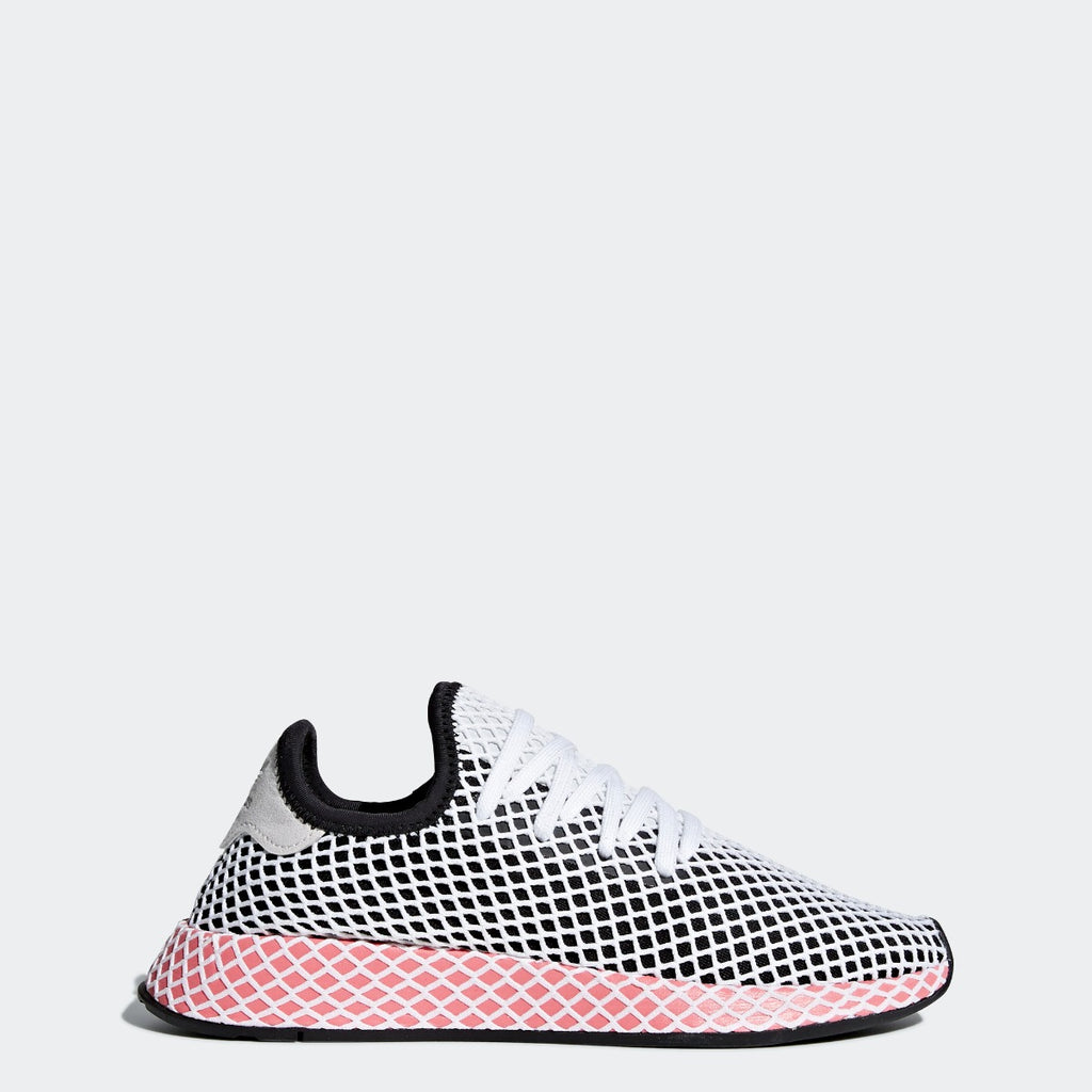 Women's adidas Originals Deerupt Runner Shoes Core Black with Chalk Pink CQ2909 | Chicago City Sports | side view