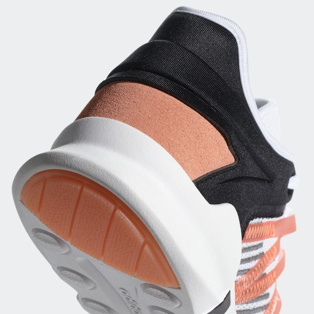 Women's adidas Originals EQT ADV Racing Shoes White with Chalk Coral CQ2156 | Chicago City Sports | heel view