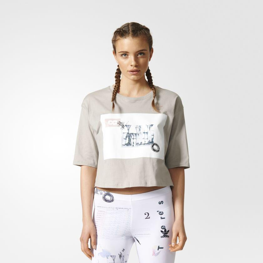 Women's adidas Originals Info Poster Croppe Tee Sesame SKU CF1155 | Chicago City Sports | front view