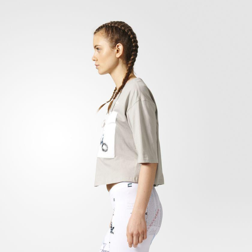 Women's adidas Originals Info Poster Croppe Tee Sesame SKU CF1155 | Chicago City Sports | side view on model