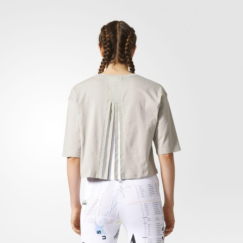 Women's adidas Originals Info Poster Croppe Tee Sesame SKU CF1155 | Chicago City Sports | rear view