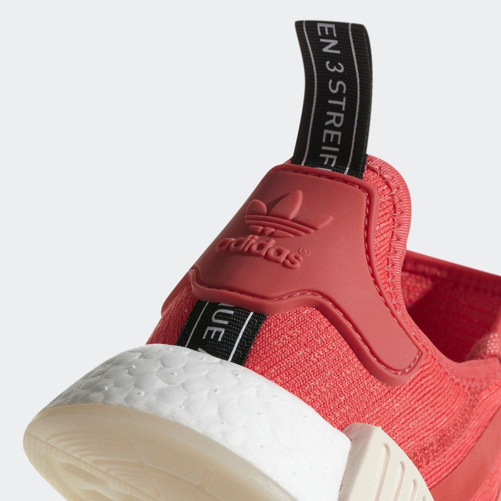 Women's adidas NMD_R1 Shoes Trace Scarlet Red CQ2014 | Chicago City Sports | heel tab view