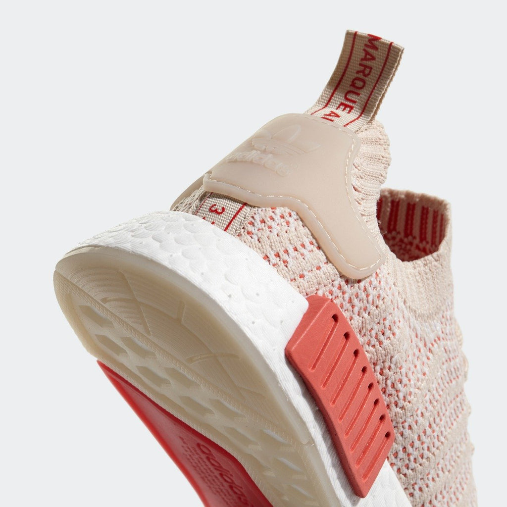 Womens adidas Originals NMD R1 STLT Primeknit Shoes Linen CQ2030 | Chicago City Sports | heel tab view