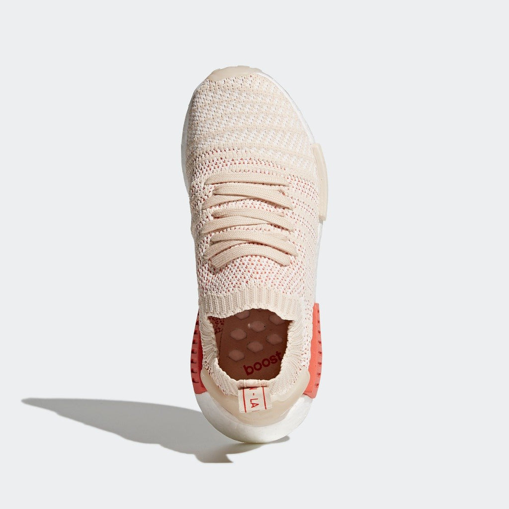 Womens adidas Originals NMD R1 STLT Primeknit Shoes Linen CQ2030 | Chicago City Sports | top view