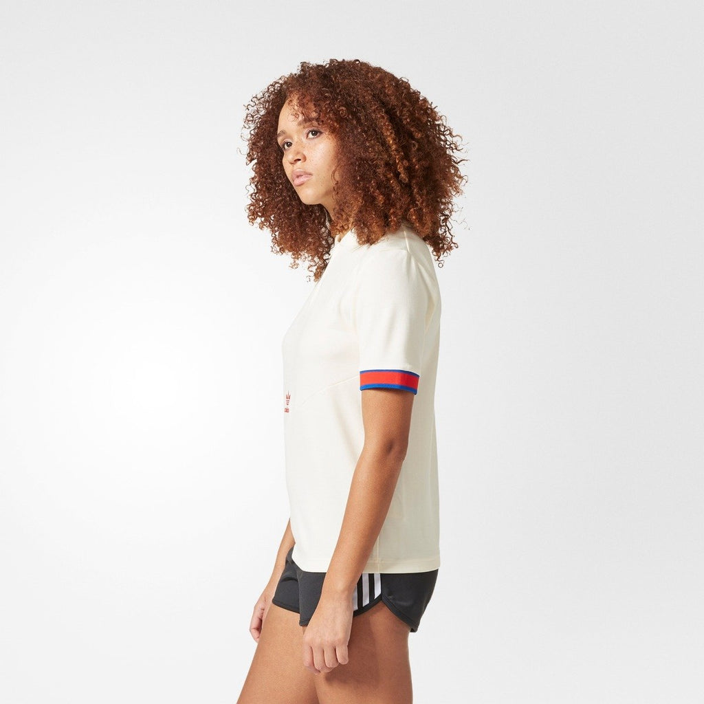 Women's Adidas Originals Short Sleeve Polo Shirts Cream/Red