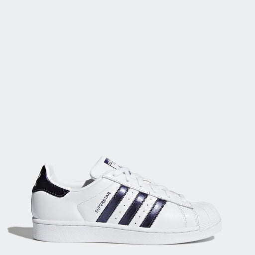 Women's adidas Originals Superstar Shoes Cloud White with Purple Night Metallic