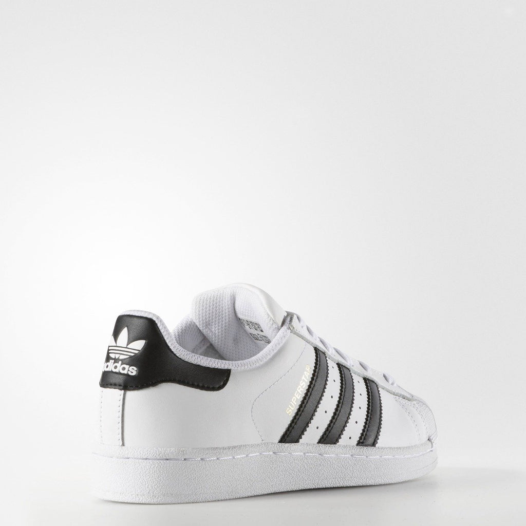 Women's adidas Originals Superstar Shoes White Black C77153 | Chicago City Sports | diagonal rear view