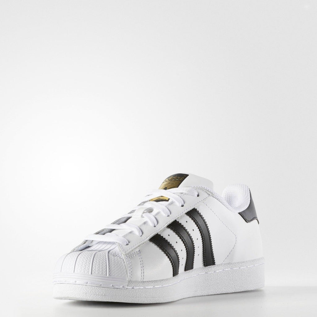 Women's adidas Originals Superstar Shoes White Black C77153 | Chicago City Sports | diagonal front view