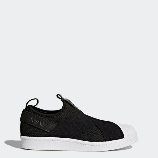 Women's Adidas Originals Superstar Slip-On Shoes Black with White