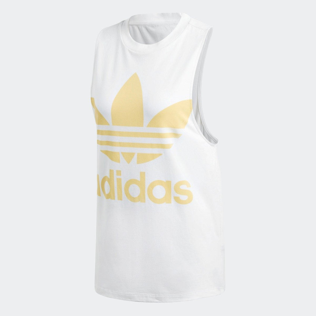 Women's adidas Originals Trefoil Tank Top White with Sand Yellow CE5582 | Chicago City Sports | front view