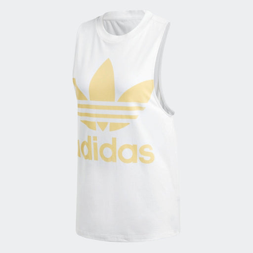 Women's adidas Originals Trefoil Tank Top White with Sand Yellow