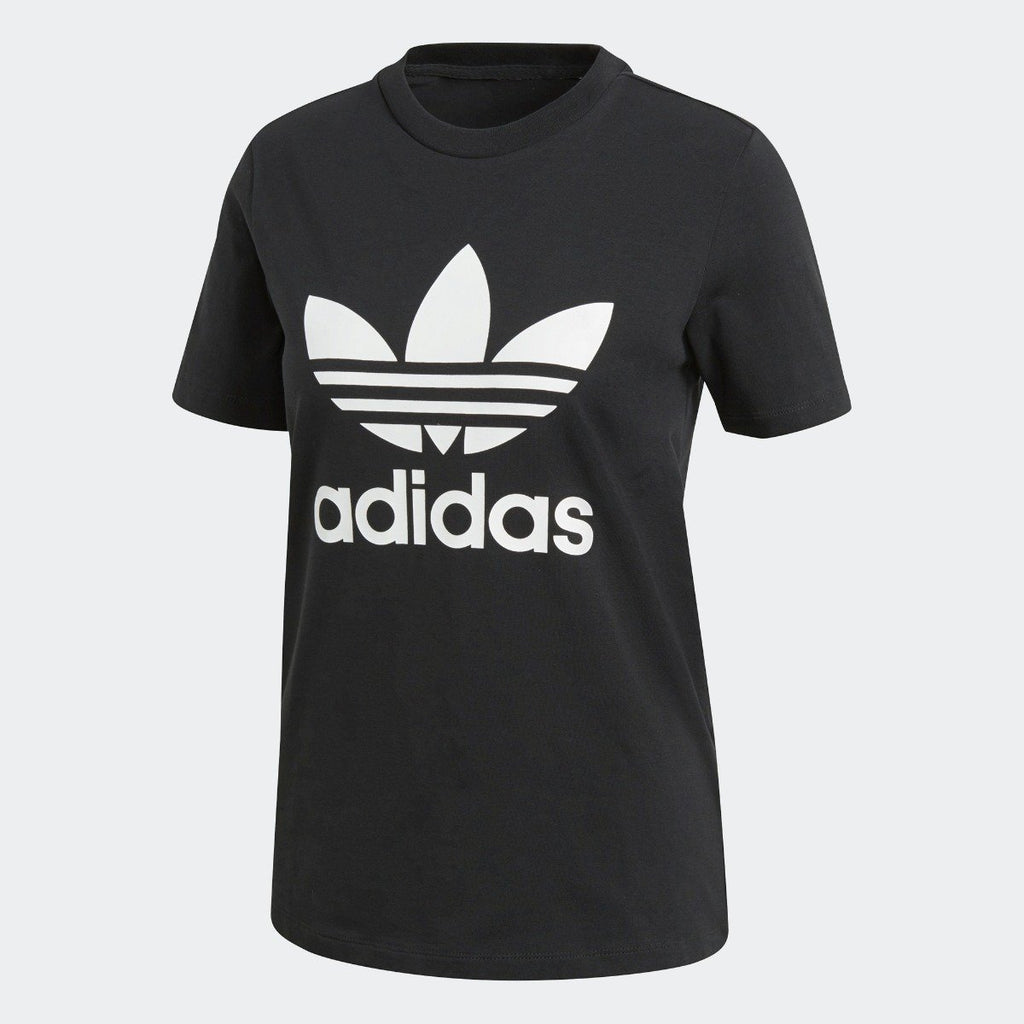 Women's adidas Originals Trefoil Tee Black with White
